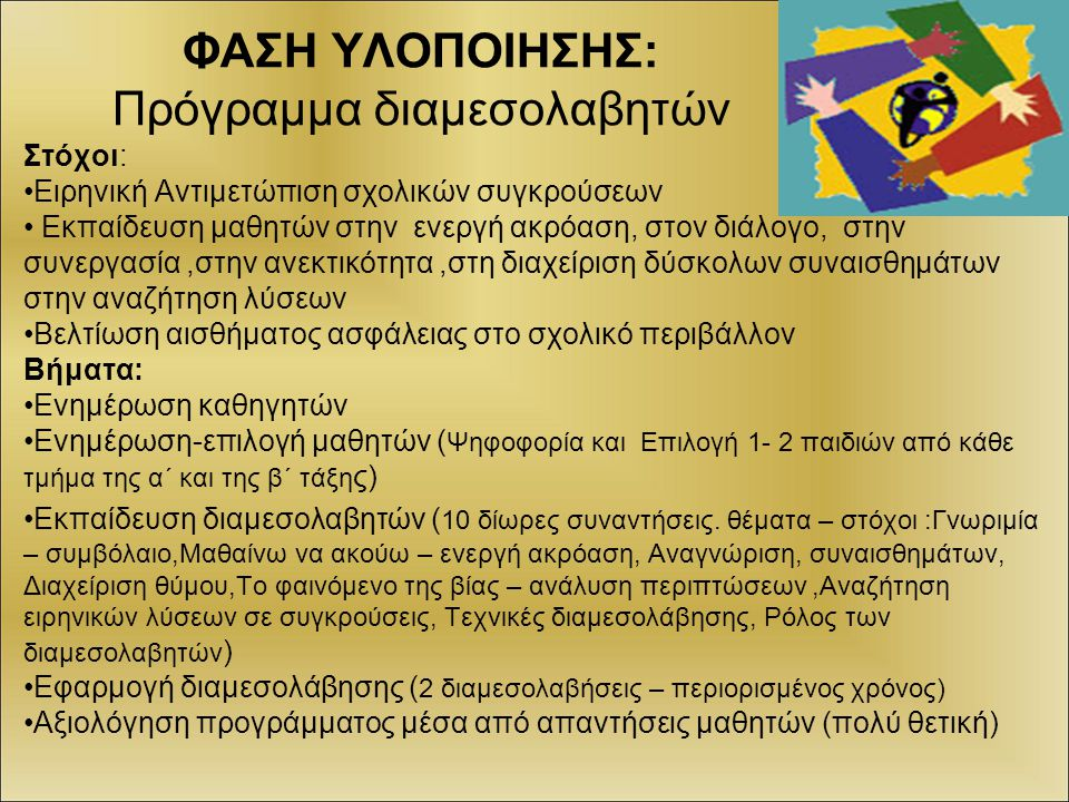 ΦΑΣΗ ΥΛΟΠΟΙΗΣΗΣ: Πρόγραμμα διαμεσολαβητών