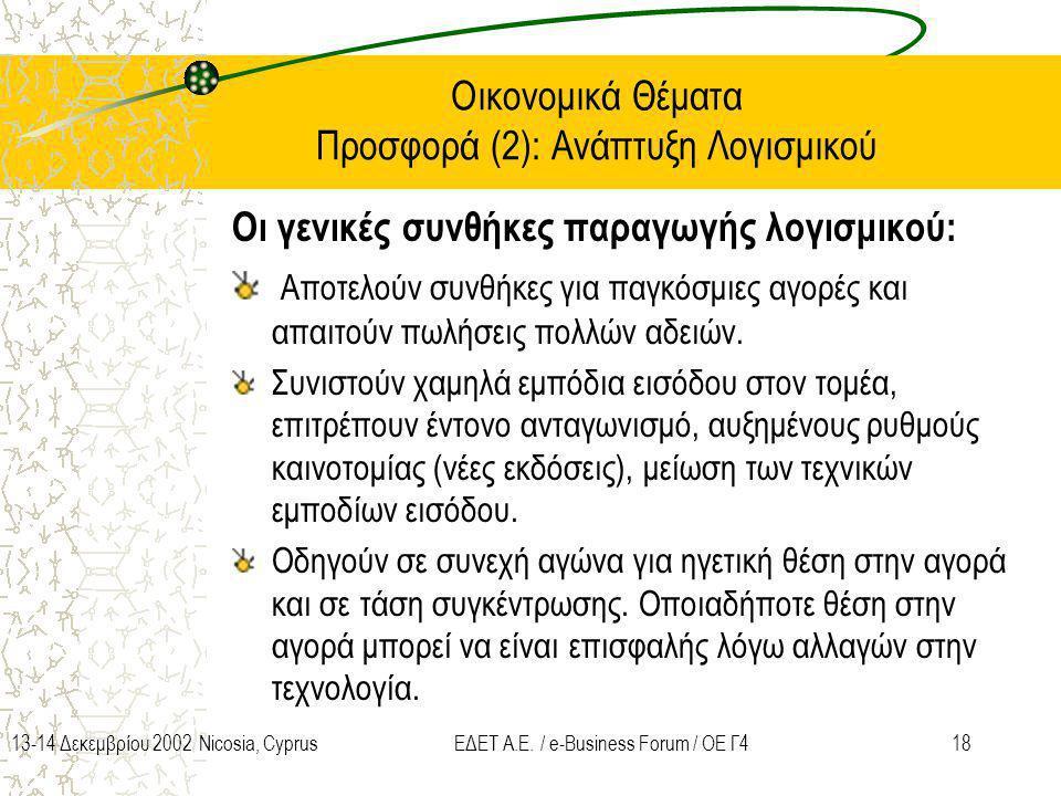 Οικονομικά Θέματα Προσφορά (2): Ανάπτυξη Λογισμικού