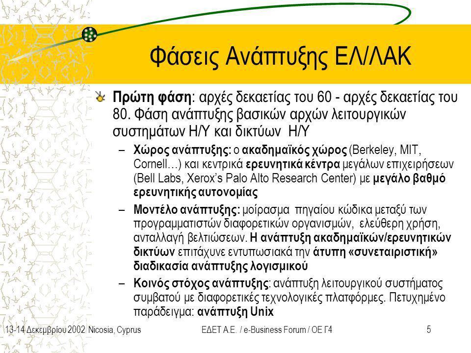 Φάσεις Ανάπτυξης ΕΛ/ΛΑΚ
