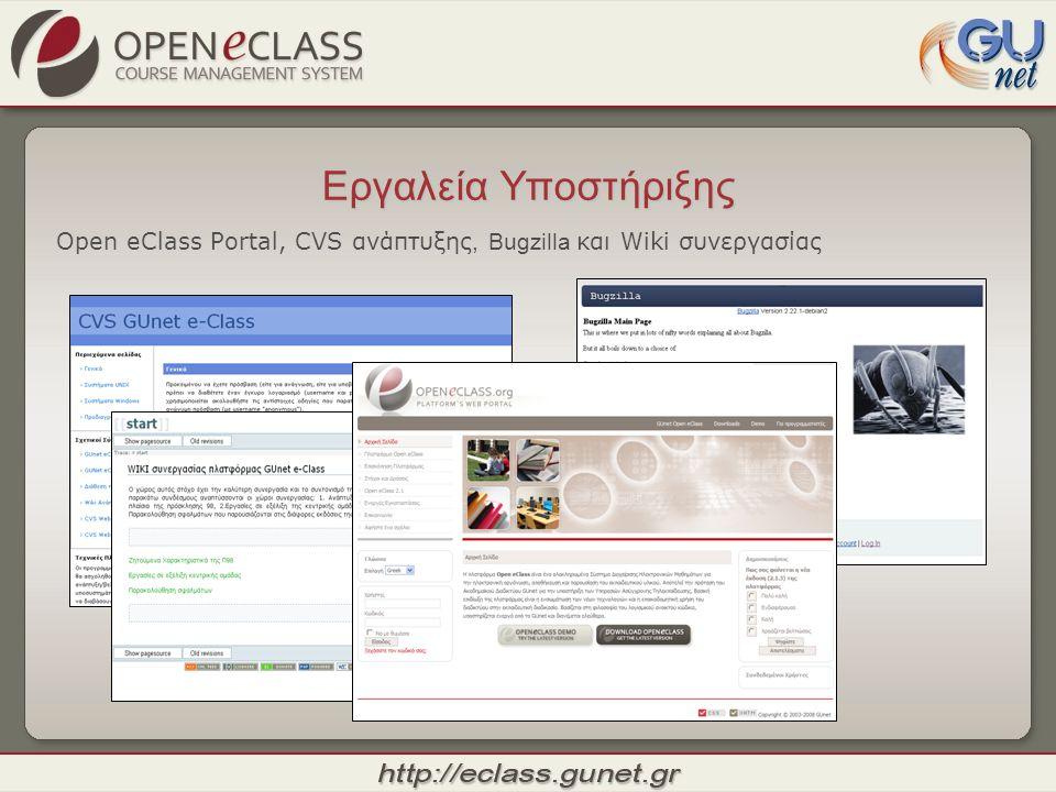 Εργαλεία Υποστήριξης Open eClass Portal, CVS ανάπτυξης, Bugzilla και Wiki συνεργασίας