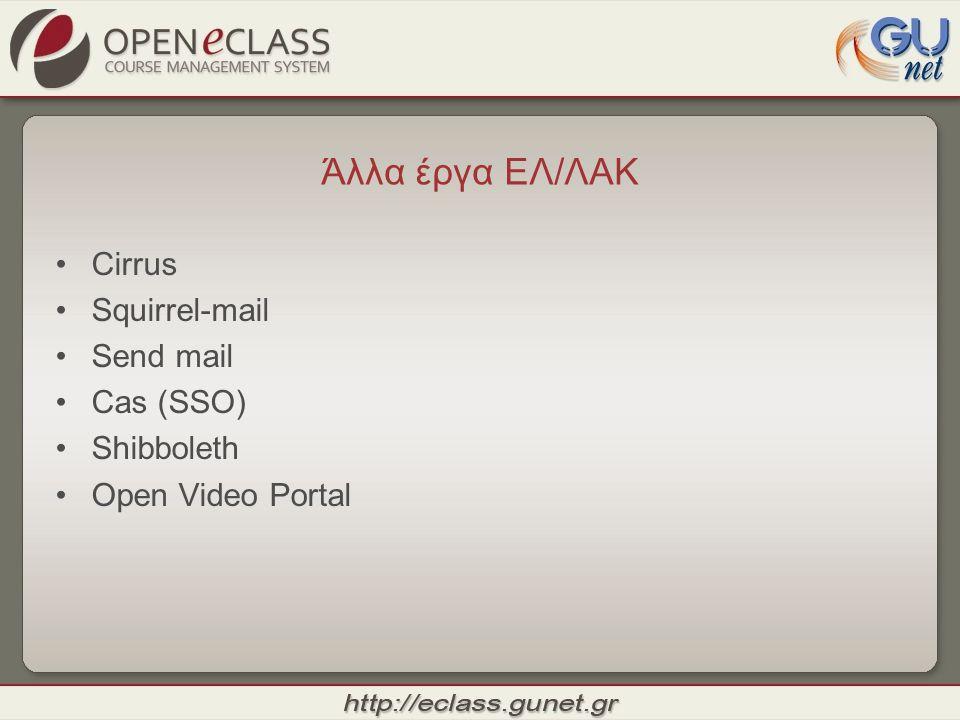 Άλλα έργα ΕΛ/ΛΑΚ Cirrus Squirrel-mail Send mail Cas (SSO) Shibboleth