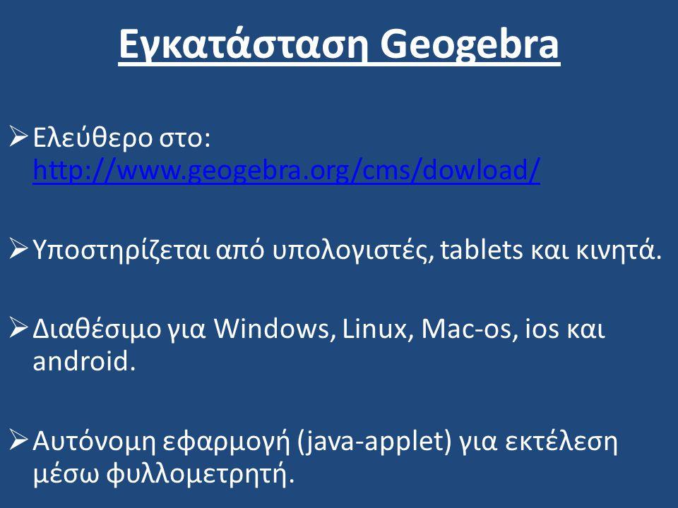 Εγκατάσταση Geogebra Ελεύθερο στο: http://www.geogebra.org/cms/dowload/ Υποστηρίζεται από υπολογιστές, tablets και κινητά.