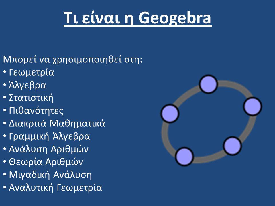 Τι είναι η Geogebra Μπορεί να χρησιμοποιηθεί στη: Γεωμετρία Άλγεβρα