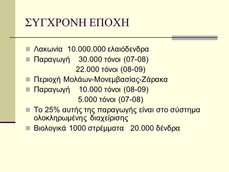 ΣΥΓΧΡΟΝΗ ΕΠΟΧΗ Λακωνία 10.000.000 ελαιόδενδρα