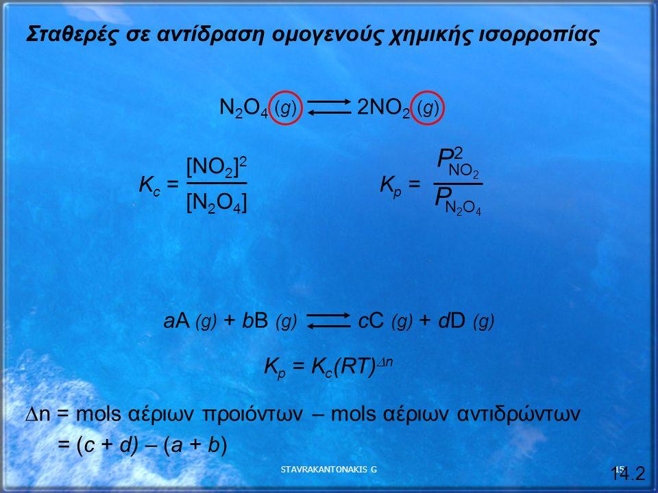P2 P Σταθερές σε αντίδραση ομογενούς χημικής ισορροπίας