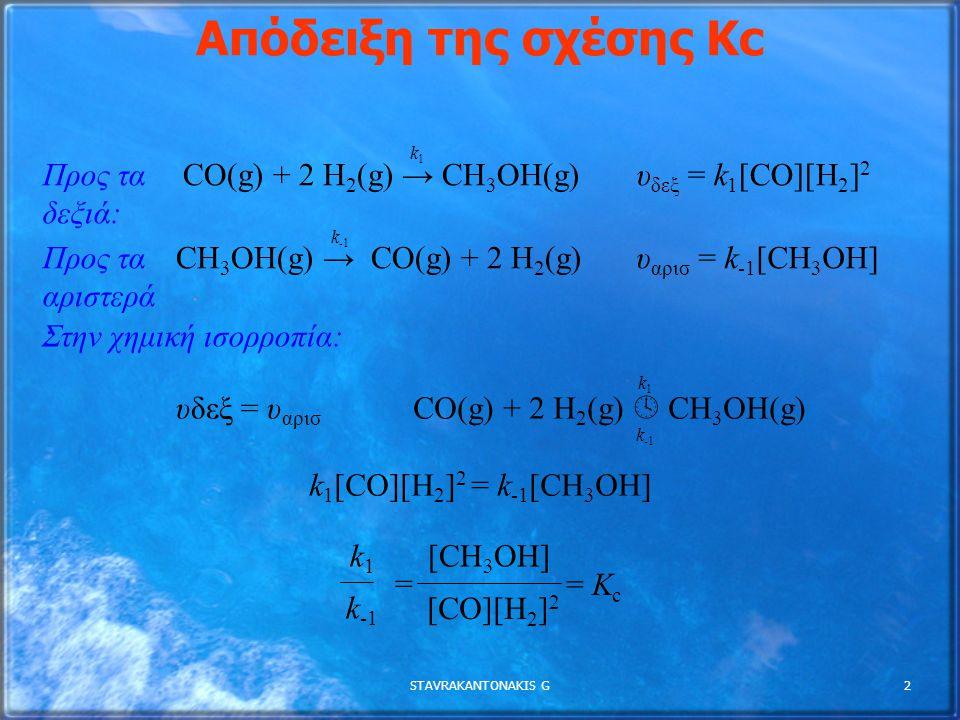 Απόδειξη της σχέσης Κc Προς τα δεξιά: CO(g) + 2 H2(g) → CH3OH(g)