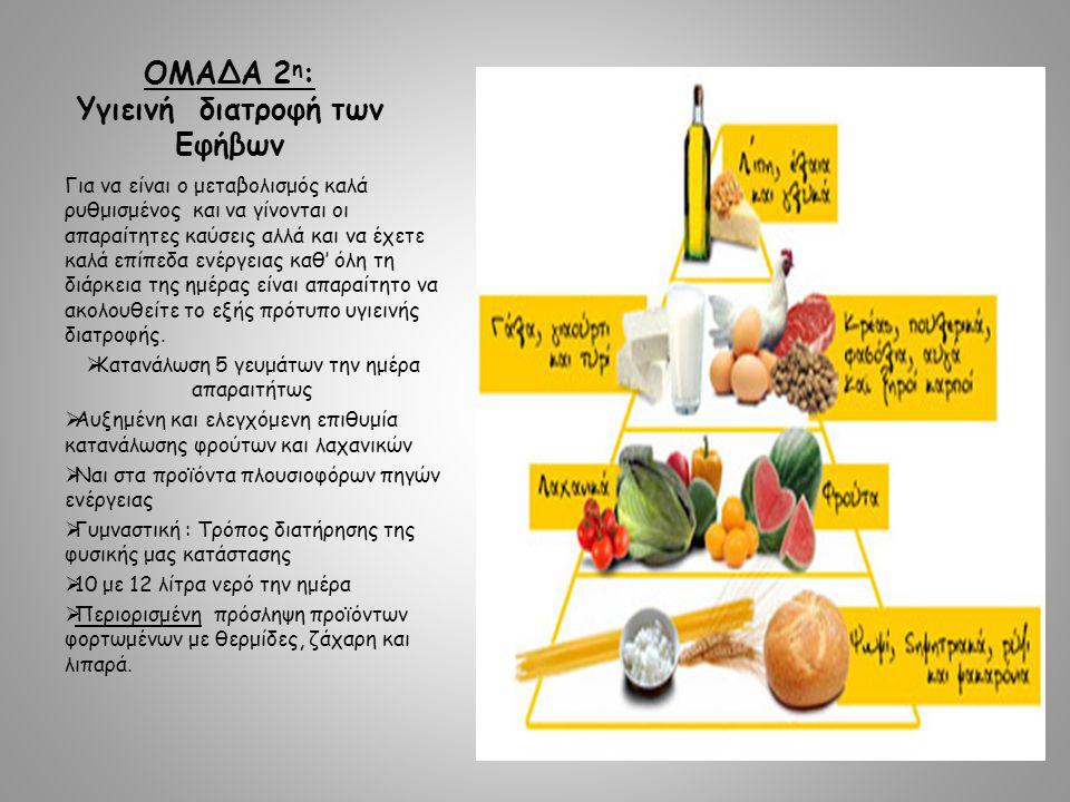 ΟΜΑΔΑ 2η: Υγιεινή διατροφή των Eφήβων