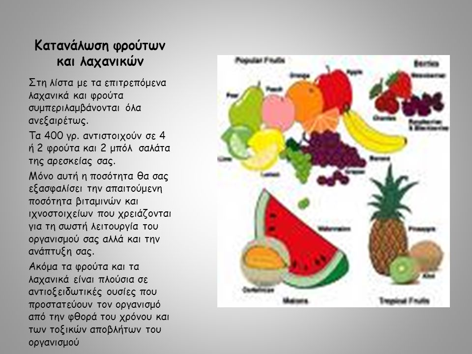 Κατανάλωση φρούτων και λαχανικών