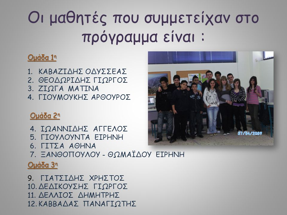 Οι μαθητές που συμμετείχαν στο πρόγραμμα είναι :