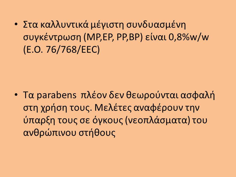 Στα καλλυντικά μέγιστη συνδυασμένη συγκέντρωση (MP,EP, PP,BP) είναι 0,8%w/w (E.Ο. 76/768/EEC)