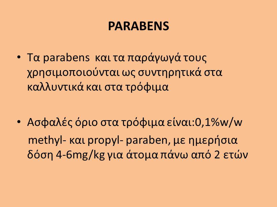 PARABENS Τα parabens και τα παράγωγά τους χρησιμοποιούνται ως συντηρητικά στα καλλυντικά και στα τρόφιμα.