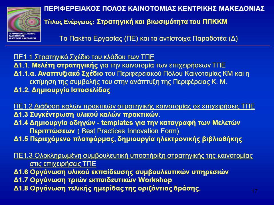 Τα Πακέτα Εργασίας (ΠΕ) και τα αντίστοιχα Παραδοτέα (Δ)