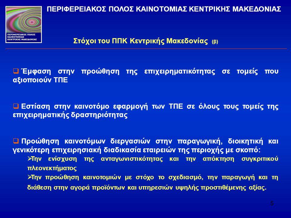 Στόχοι του ΠΠΚ Κεντρικής Μακεδονίας (β)