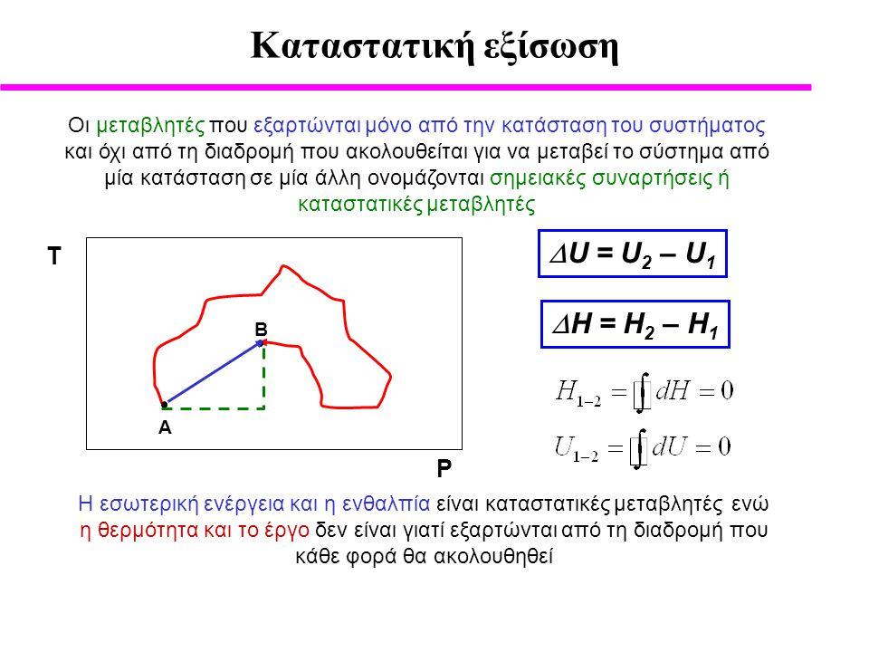 Kαταστατική εξίσωση U = U2 – U1 H = H2 – H1 Τ P