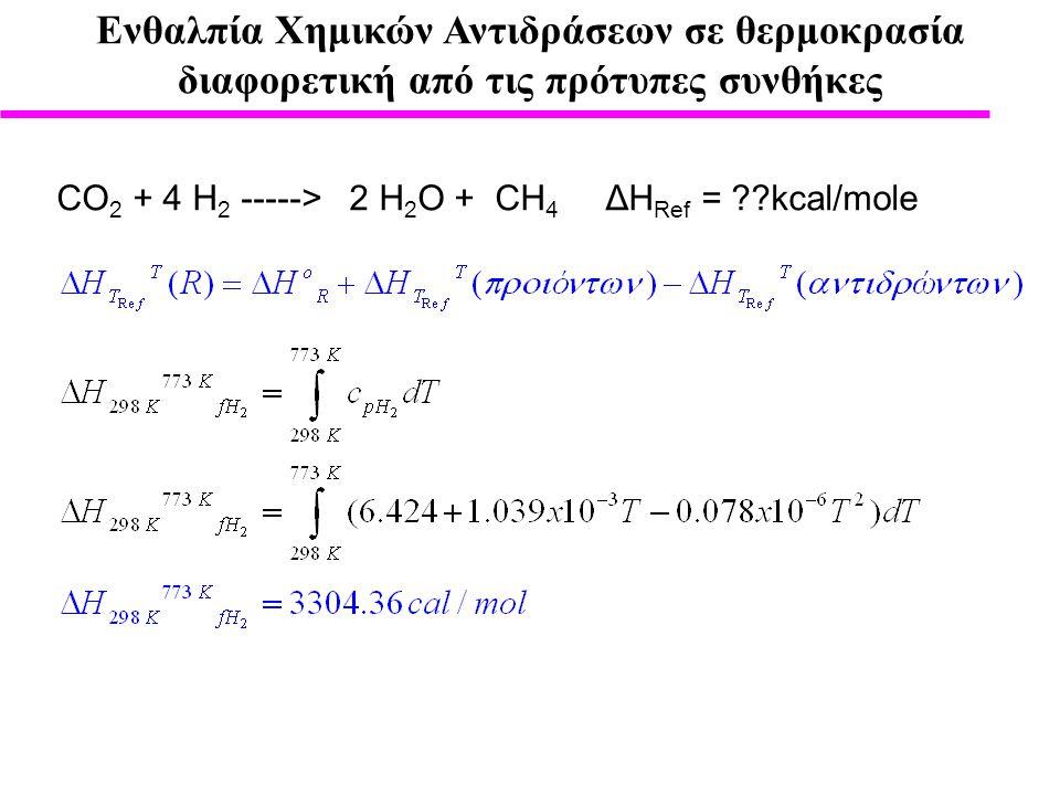 Ενθαλπία Χημικών Αντιδράσεων σε θερμοκρασία διαφορετική από τις πρότυπες συνθήκες