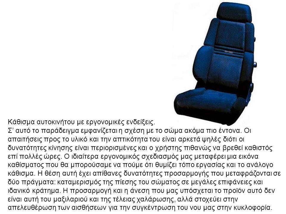 Κάθισμα αυτοκινήτου με εργονομικές ενδείξεις.
