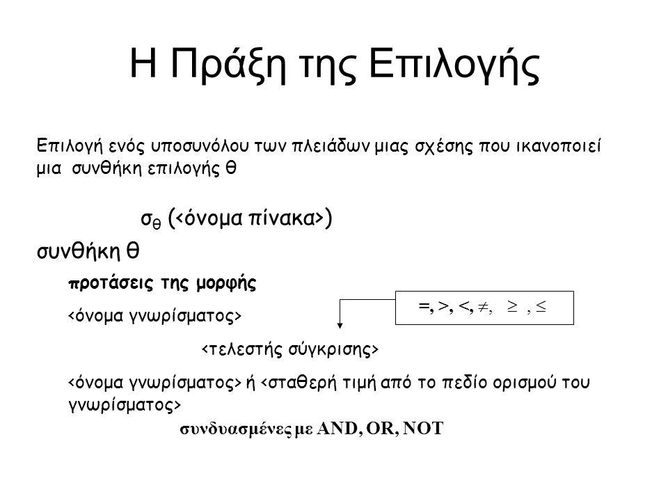 Η Πράξη της Επιλογής σθ (<όνομα πίνακα>) συνθήκη θ