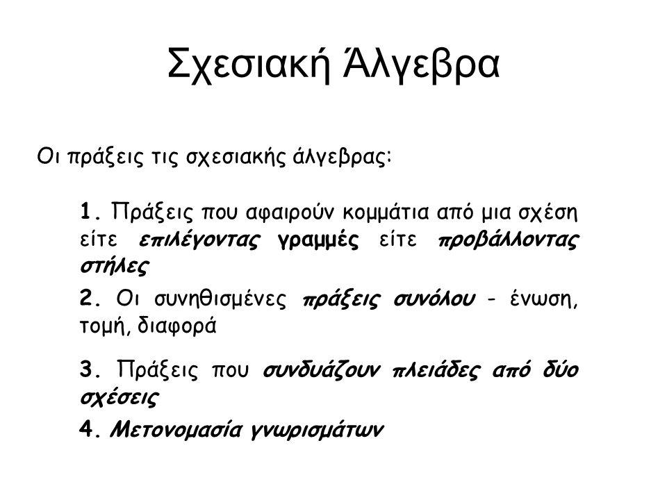Σχεσιακή Άλγεβρα Οι πράξεις τις σχεσιακής άλγεβρας: