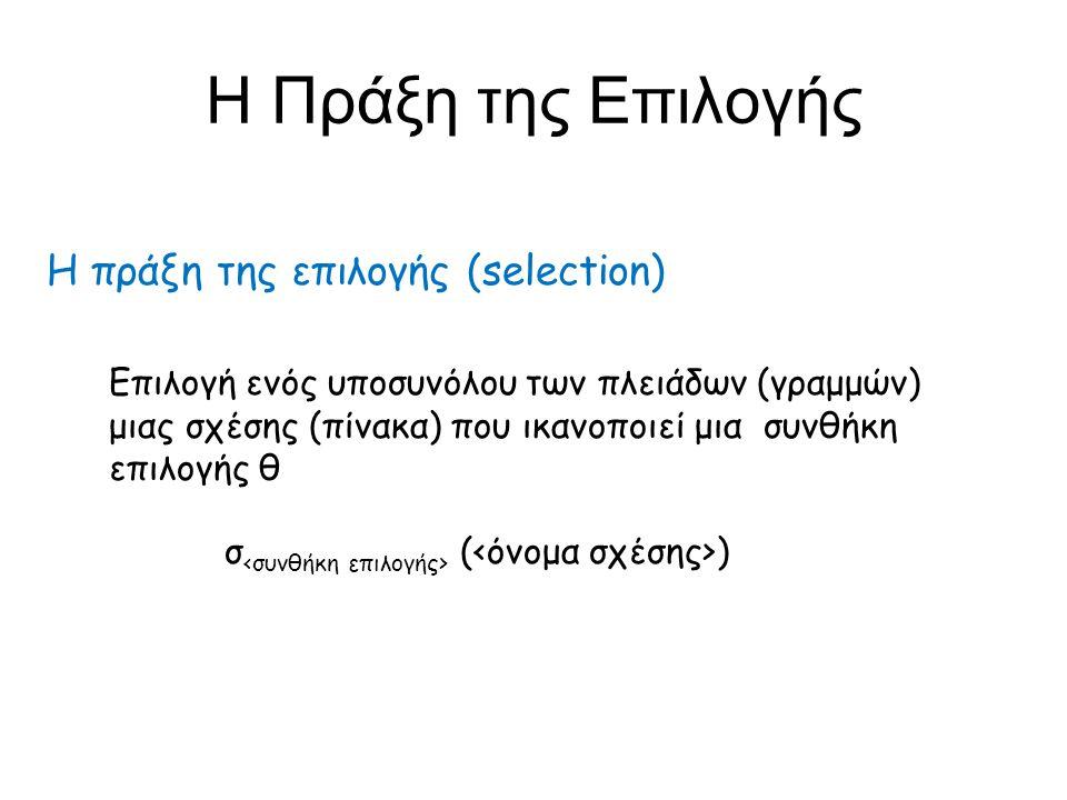 Η Πράξη της Επιλογής Η πράξη της επιλογής (selection)