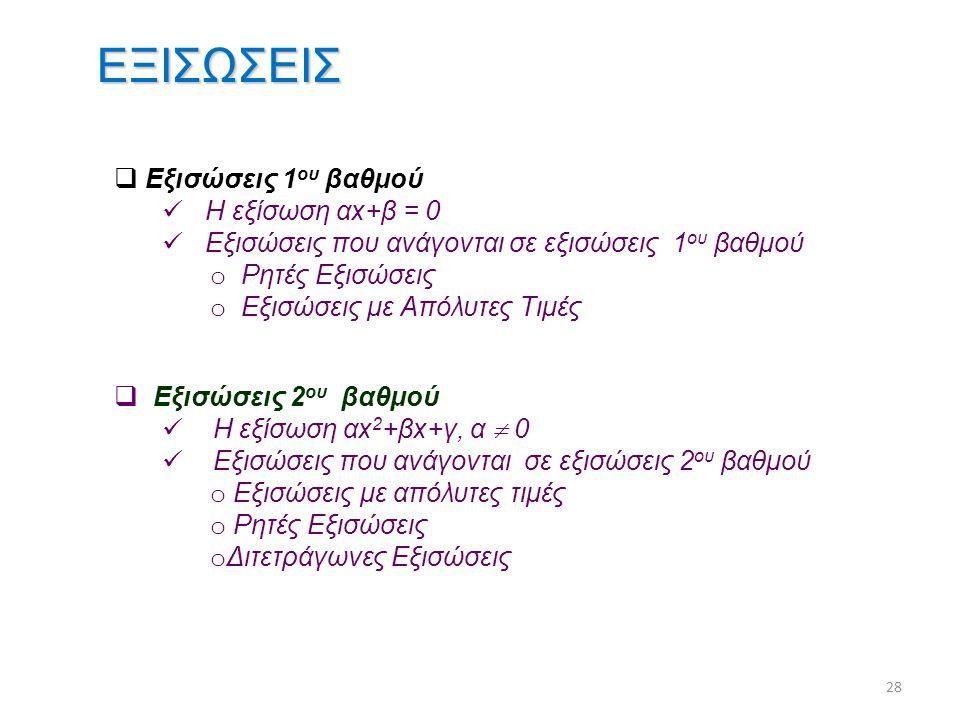 ΕΞΙΣΩΣΕΙΣ Εξισώσεις 1ου βαθμού Η εξίσωση αx+β = 0