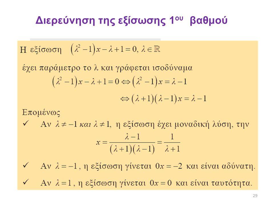 Διερεύνηση της εξίσωσης 1ου βαθμού