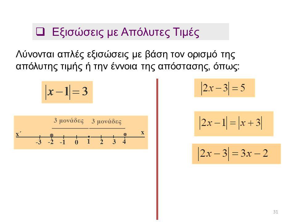 Εξισώσεις με Απόλυτες Τιμές