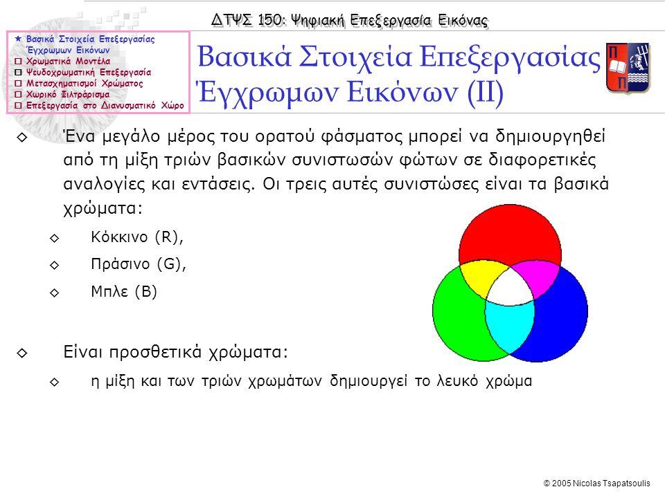 Βασικά Στοιχεία Επεξεργασίας Έγχρωμων Εικόνων (II)