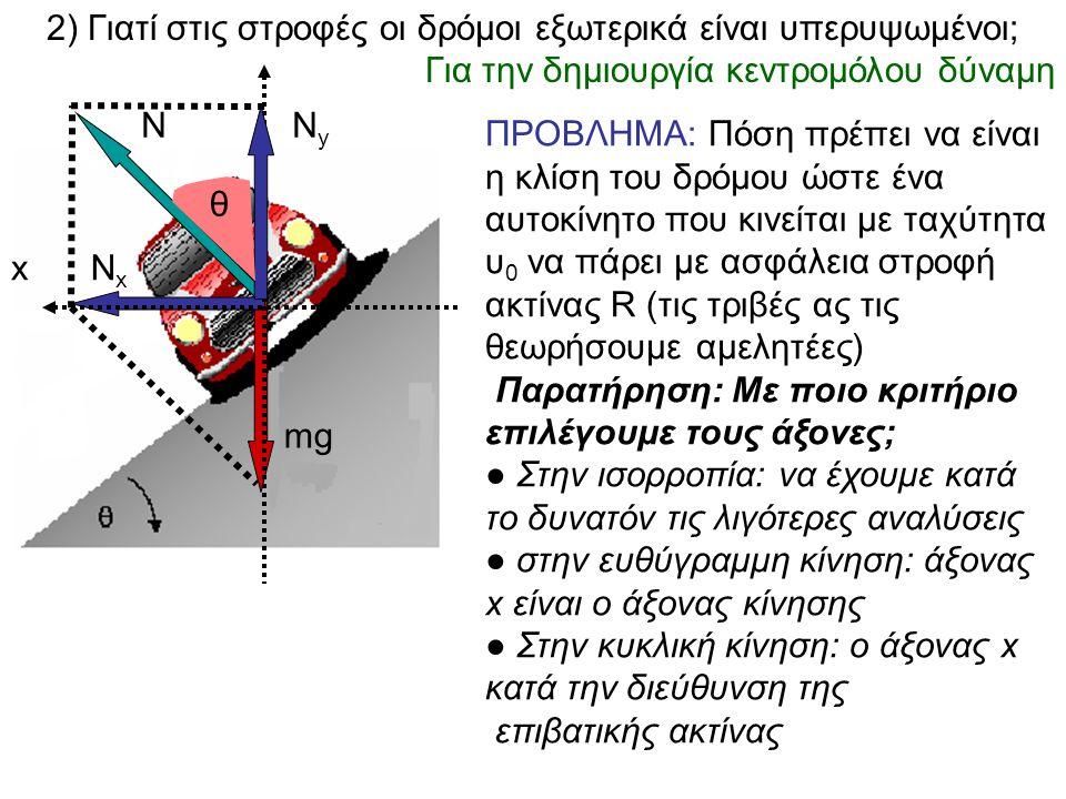2) Γιατί στις στροφές οι δρόμοι εξωτερικά είναι υπερυψωμένοι;