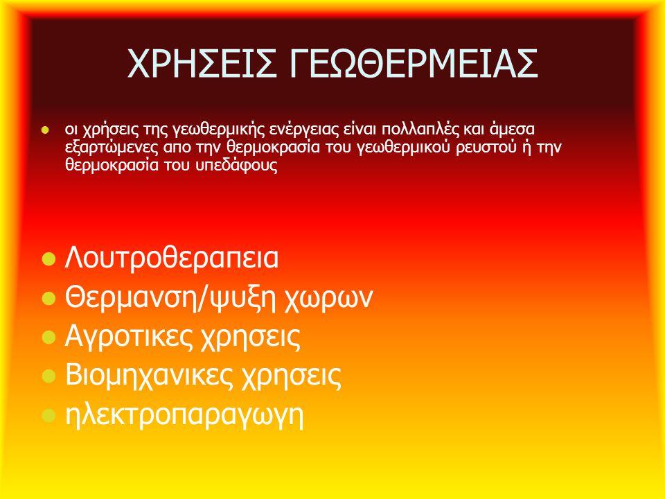 ΧΡΗΣΕΙΣ ΓΕΩΘΕΡΜΕΙΑΣ Λουτροθεραπεια Θερμανση/ψυξη χωρων
