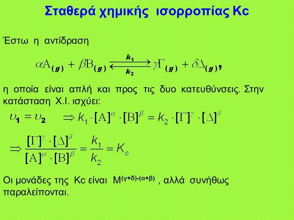 Σταθερά χημικής ισορροπίας Κc