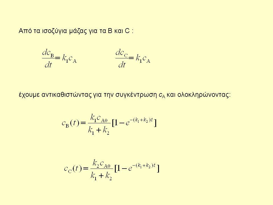 Aπό τα ισοζύγια μάζας για τα B και C :