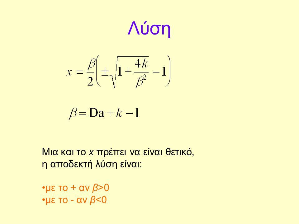 Λύση Μια και το x πρέπει να είναι θετικό, η αποδεκτή λύση είναι: