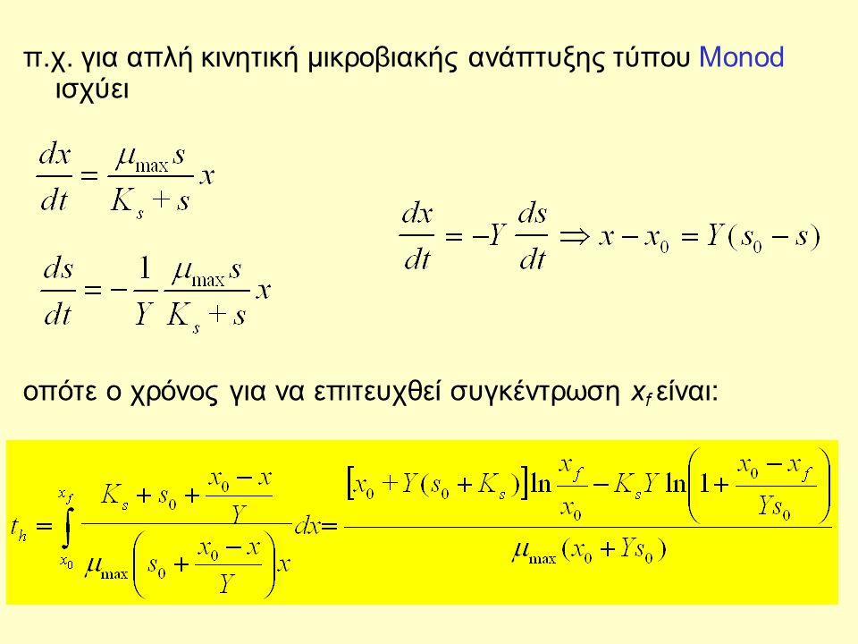 π.χ. για απλή κινητική μικροβιακής ανάπτυξης τύπου Monod ισχύει