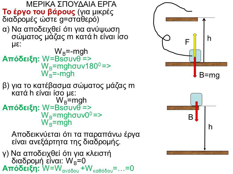 ΜΕΡΙΚΑ ΣΠΟΥΔΑΙΑ ΕΡΓΑ Το έργο του βάρους (για μικρές διαδρομές ώστε g=σταθερό) α) Να αποδειχθεί ότι για ανύψωση σώματος μάζας m κατά h είναι ίσο με: