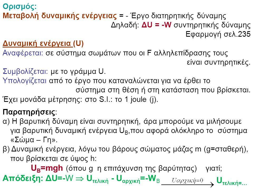 UΒ=mgh (όπου g η επιτάχυνση της βαρύτητας) γιατί;