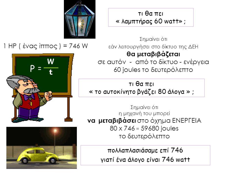 w Ρ = t τι θα πει « λαμπτήρας 60 watt» ; 1 HP ( ένας ίππος ) = 746 W