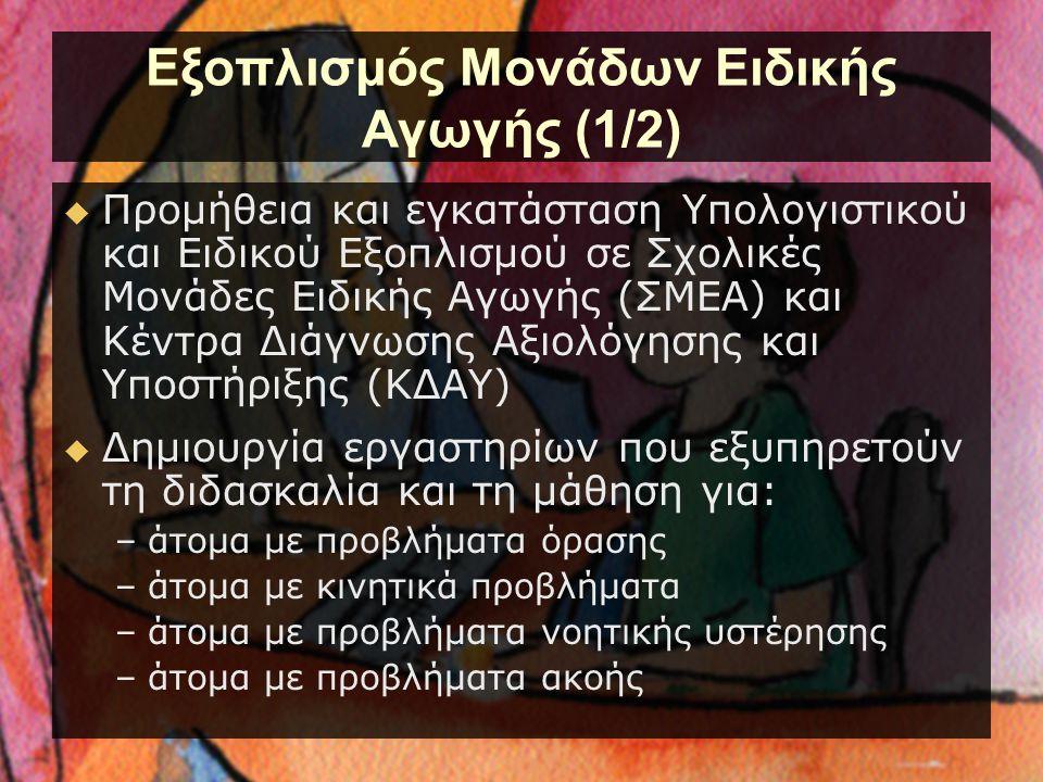 Εξοπλισμός Μονάδων Ειδικής Αγωγής (1/2)