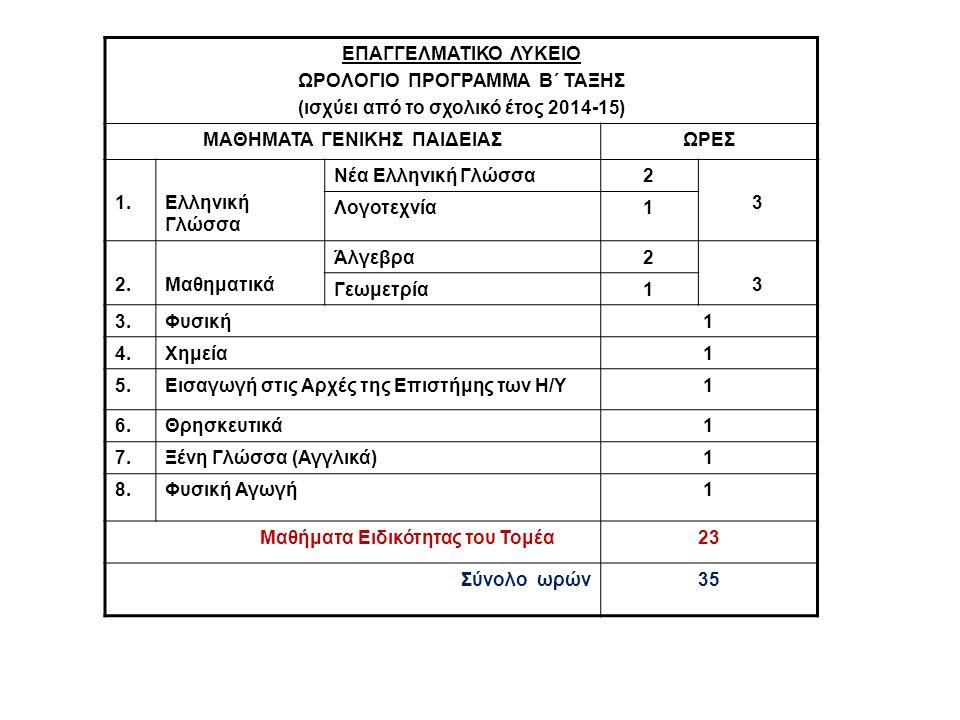ΩΡΟΛΟΓΙΟ ΠΡΟΓΡΑΜΜΑ Β΄ ΤΑΞΗΣ (ισχύει από το σχολικό έτος 2014-15)