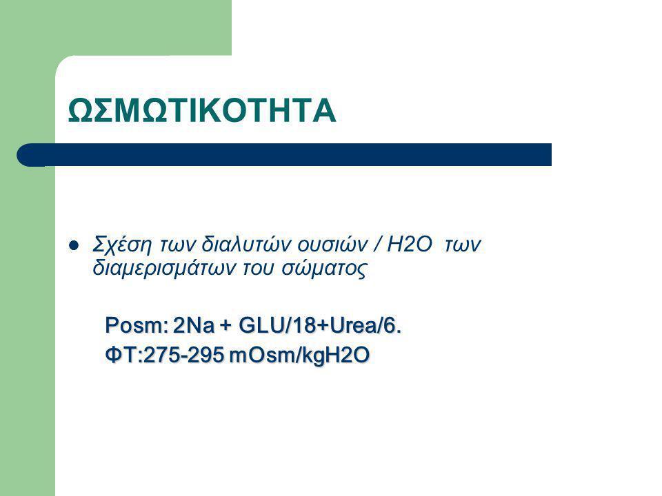 ΩΣΜΩΤΙΚΟΤΗΤΑ Σχέση των διαλυτών ουσιών / Η2Ο των διαμερισμάτων του σώματος. Posm: 2Na + GLU/18+Urea/6.