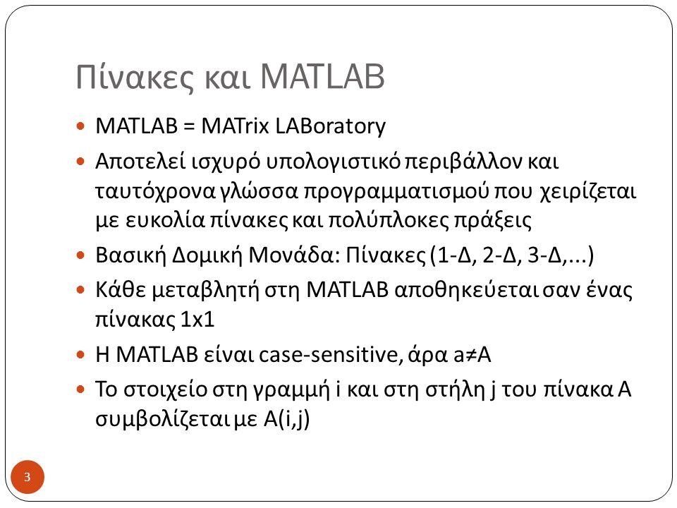 Πίνακες και MATLAB MATLAB = MATrix LABoratory