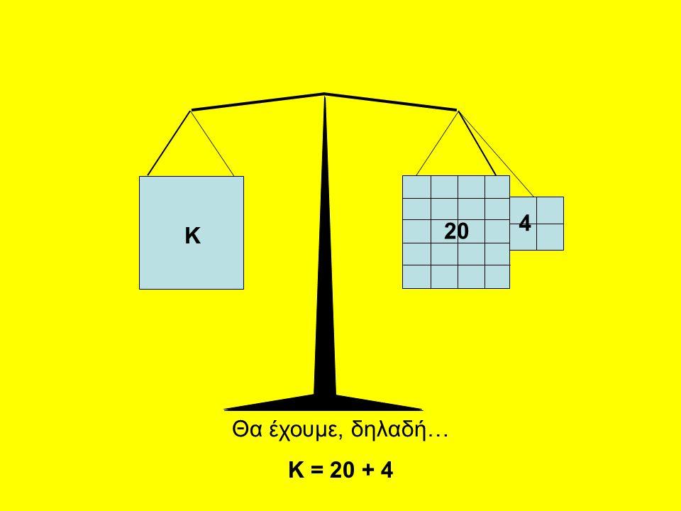 Κ 20 4 Θα έχουμε, δηλαδή… Κ = 20 + 4