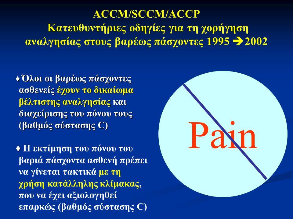 ACCM/SCCM/ACCP Κατευθυντήριες οδηγίες για τη χορήγηση αναλγησίας στους βαρέως πάσχοντες 1995 2002