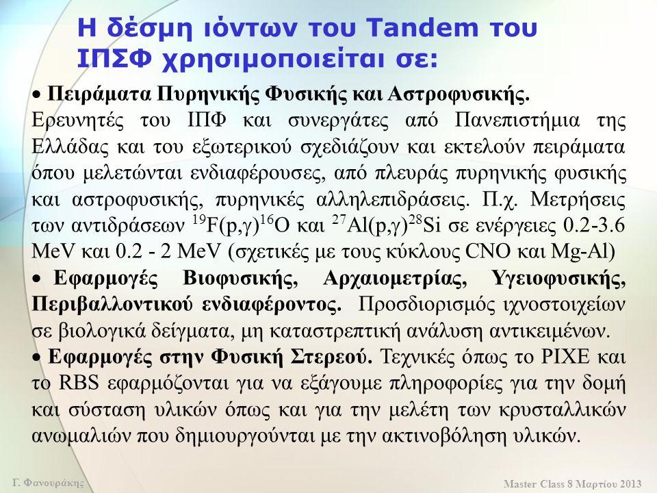 Η δέσμη ιόντων του Tandem του ΙΠΣΦ χρησιμοποιείται σε:
