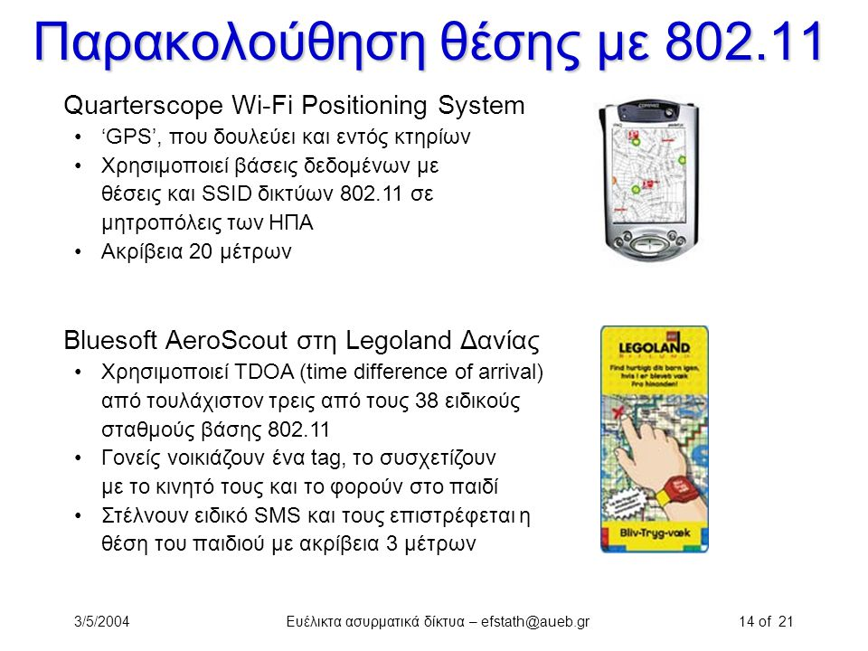 Παρακολούθηση θέσης με 802.11