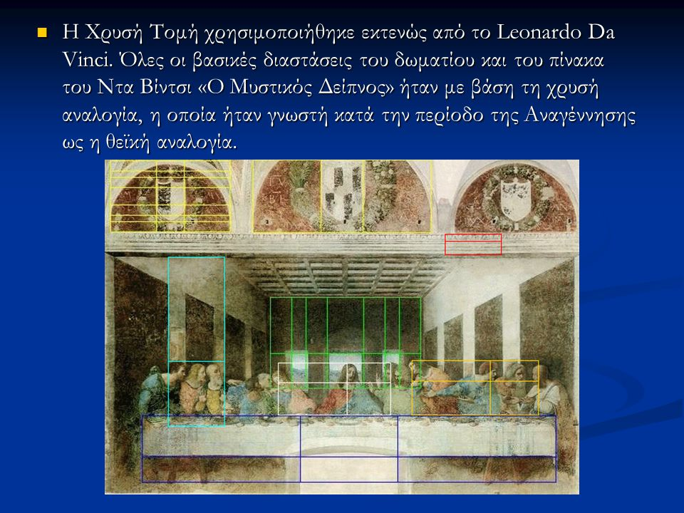 Η Χρυσή Τομή χρησιμοποιήθηκε εκτενώς από το Leonardo Da Vinci