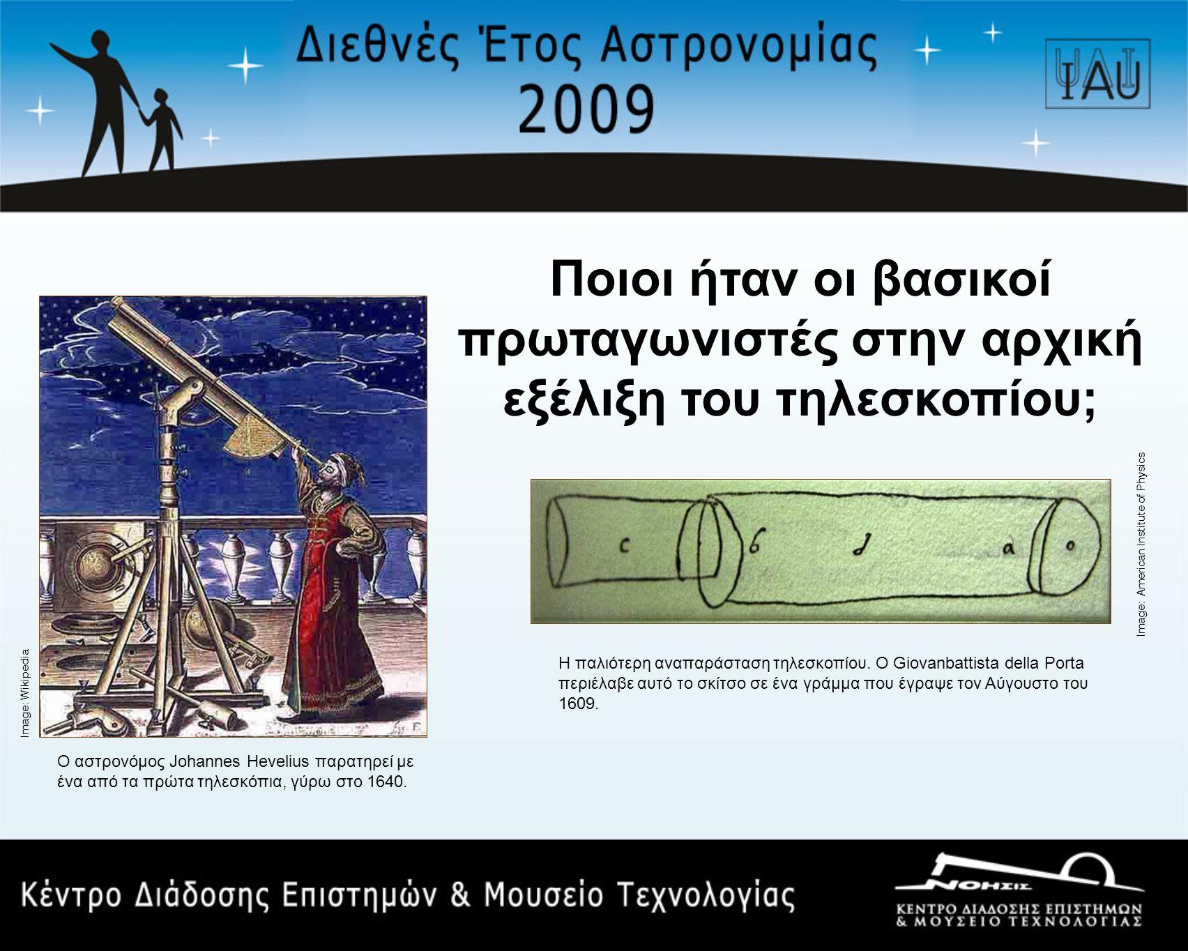 Ποιοι ήταν οι βασικοί πρωταγωνιστές στην αρχική εξέλιξη του τηλεσκοπίου;