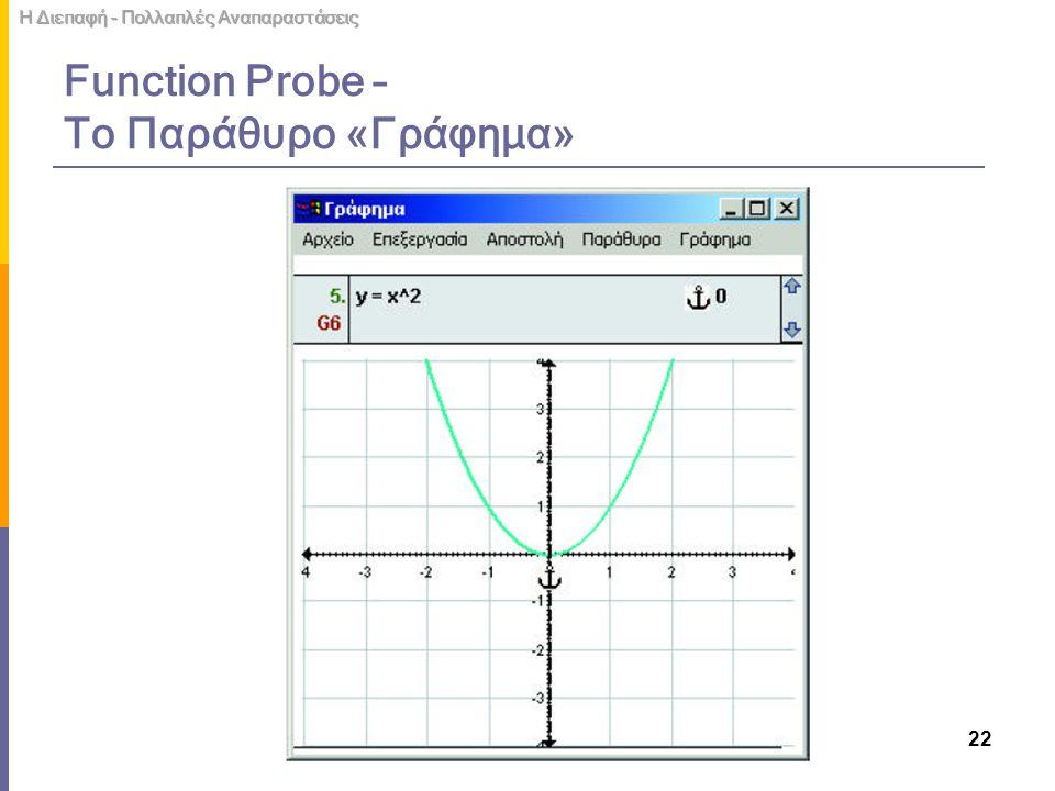 Function Probe – Το Παράθυρο «Γράφημα»