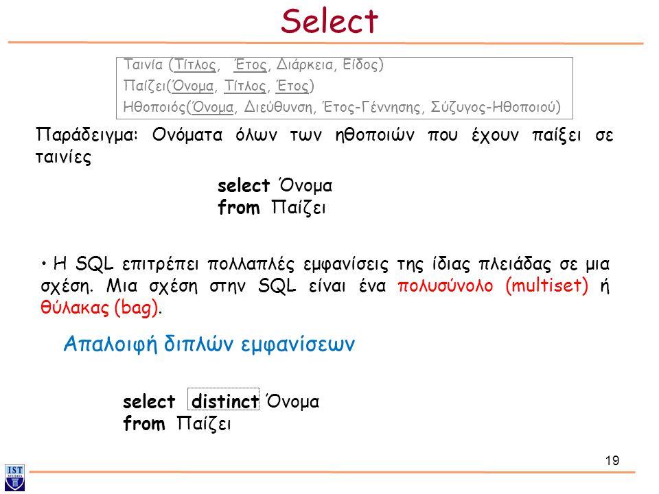 Select Απαλοιφή διπλών εμφανίσεων