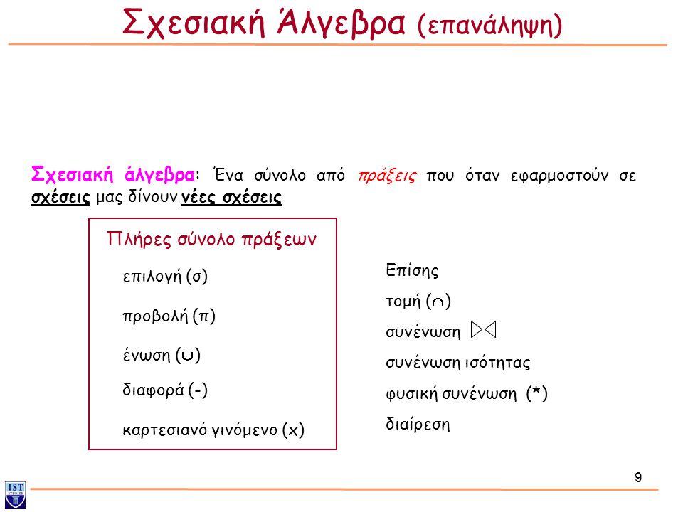 Σχεσιακή Άλγεβρα (επανάληψη)