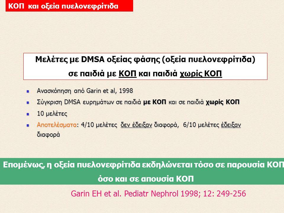 Μελέτες με DMSA οξείας φάσης (οξεία πυελονεφρίτιδα)